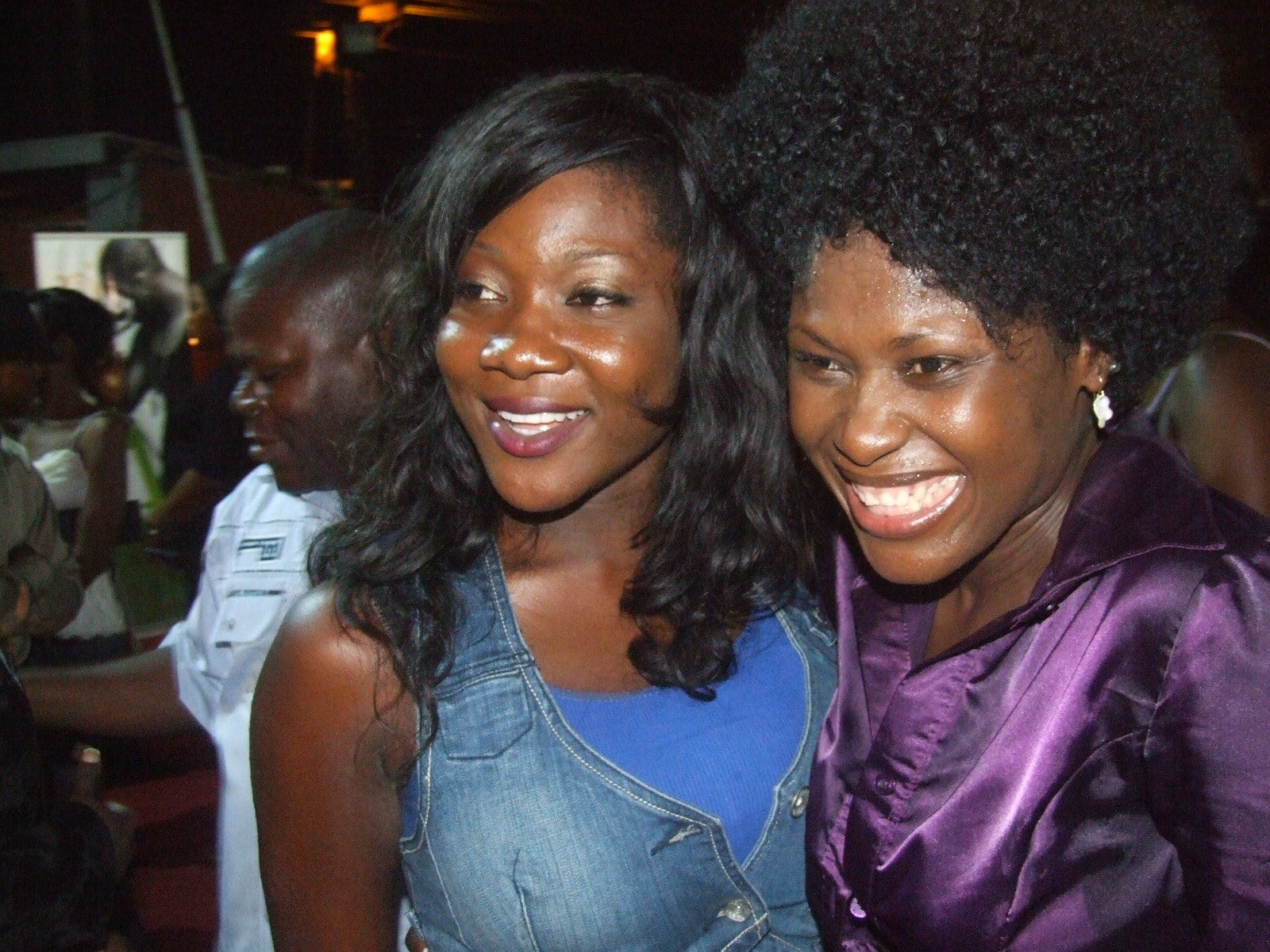 Mercy Johnson celebrates with Uche Jombo.